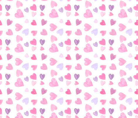 Watercolor Hearts fabric by blackberrylaneco on Spoonflower - custom fabric