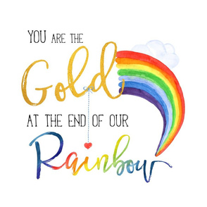 "6 to 1 Yard of Minky / 18""x18"" /  Jack's Story / YOU ARE THE GOLD AT THE END RAINBOW"