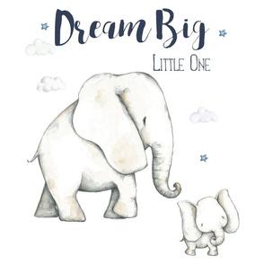 """6 to 1 Yard of Minky / 18""""x18 / Dream Big Elephant"""