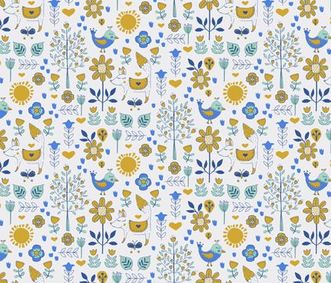 Folky Friends fabric by jacquelinehurd on Spoonflower - custom fabric