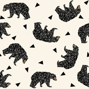 geo bear fabric // andrea lauren geometric bear design baby nursery fabric non-directional version