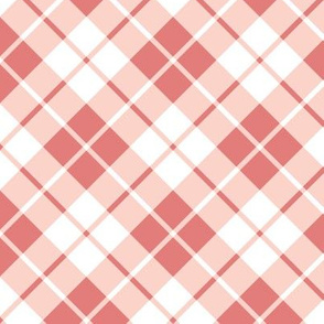 coral and white diagonal tartan