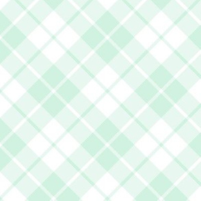 mint and white diagonal tartan