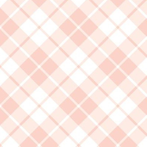 blush pink and white diagonal tartan