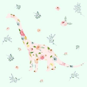 """8"""" Floral Dino / Roses / Minty Green"""
