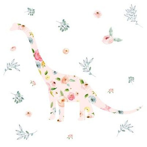"8"" Floral Dino / Roses / White"