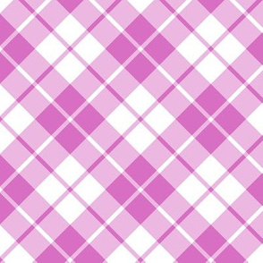pink and white diagonal tartan