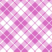 pink and white diagonal tartan