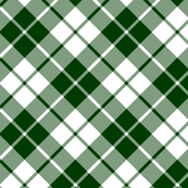forest green and white diagonal tartan
