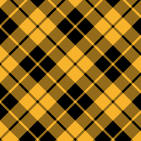 circus yellow and black diagonal tartan fabric by weavingmajor on Spoonflower - custom fabric