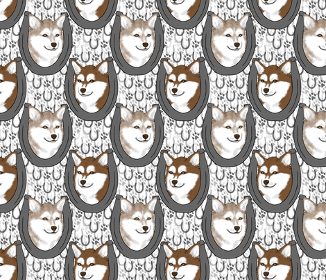 Alaskan Klee Kai horseshoe portraits fabric by rusticcorgi on Spoonflower - custom fabric