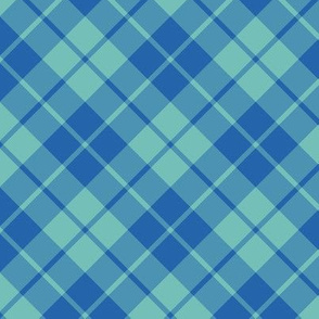 circus blue and aqua diagonal tartan
