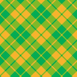 circus green and yellow diagonal tartan