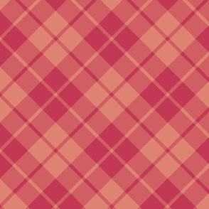 soft red diagonal tartan