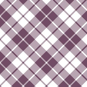 plum and white diagonal tartan