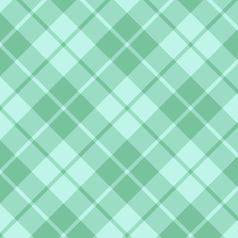 sea green and aqua diagonal tartan fabric by weavingmajor on Spoonflower - custom fabric