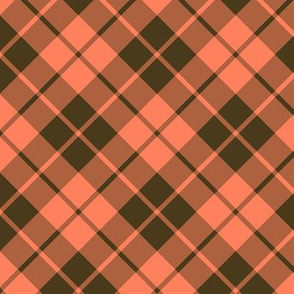 bronze and coral diagonal tartan