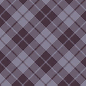 dark mauve and grey diagonal tartan