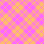 hot pink and orange diagonal tartan