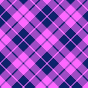 navy blue and hot pink diagonal tartan