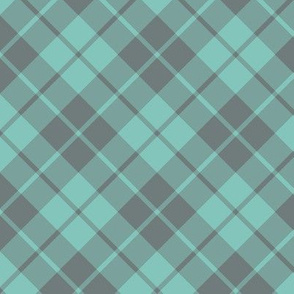 grey and teal diagonal tartan