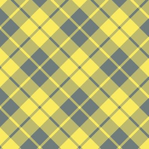 yellow and grey diagonal tartan