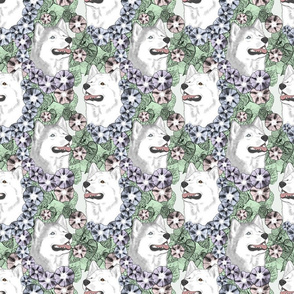 Floral Siberian Husky portraits C