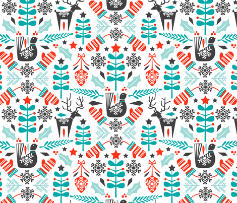 Hygge Holiday - Swedish Folk Art Christmas fabric by heatherdutton on Spoonflower - custom fabric