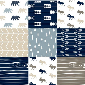 Rustic Woods Patchwork Fabric -Moose and Bear