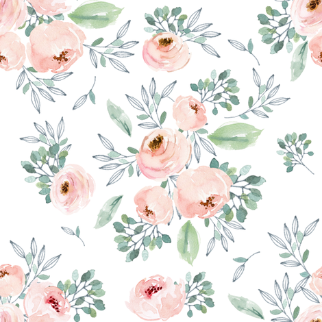"8"" Gables Rose / White fabric by shopcabin on Spoonflower - custom fabric"