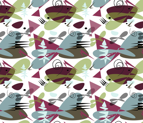 Mid Century Modern Trees Purple and Green fabric by barbarapritchard on Spoonflower - custom fabric