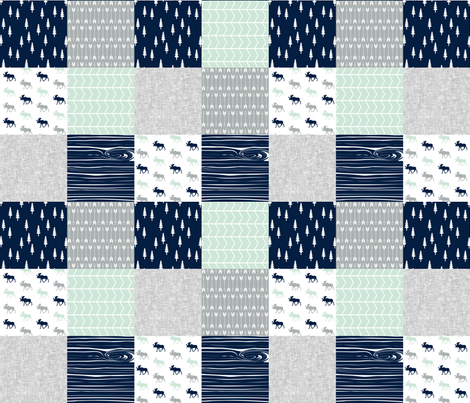 Northern Lights Patchwork - Moose with grey linen fabric by littlearrowdesign on Spoonflower - custom fabric