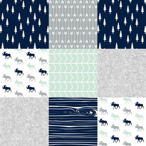 Northern Lights Patchwork - Moose with grey linen