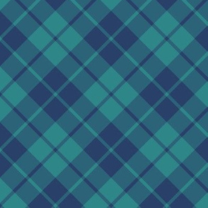 navy and teal diagonal tartan