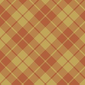 rust and tan diagonal tartan