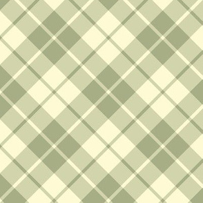 sage and cream diagonal tartan