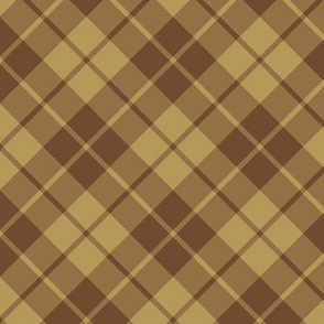 chocolate and caramel diagonal tartan