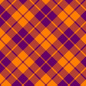Indian purple and orange diagonal tartan