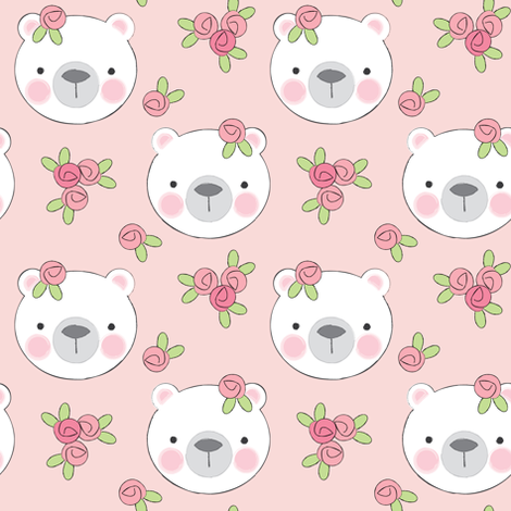 bears-and-flowers-on-soft-pink fabric by lilcubby on Spoonflower - custom fabric