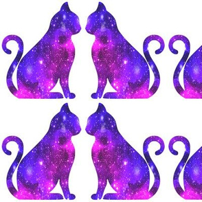 4 sitting cats animals glitter sparkles stars universe galaxy nebula watercolor effect silhouette purple blue violet pink cosmic cosmos planets side profile