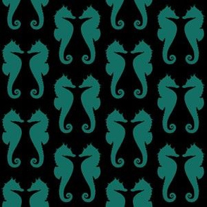 Cyan Turquoise Blue Seahorses on Black