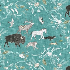 Stampede SMALL (teal linen)