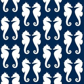 White Seahorses on Navy Blue