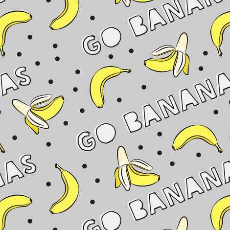 go bananas! - grey  fabric by littlearrowdesign on Spoonflower - custom fabric