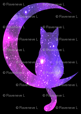 1 sitting cats animals moon glitter sparkles stars universe galaxy nebula watercolor effect silhouette purple blue violet pink cosmic cosmos planets crescent