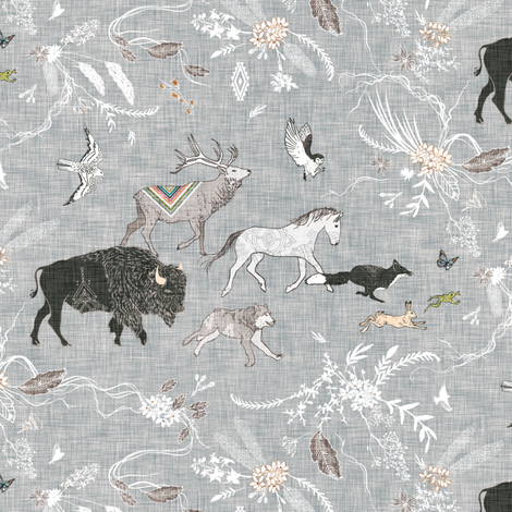 Stampede SMALL (grey linen) fabric by nouveau_bohemian on Spoonflower - custom fabric