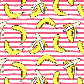 bananas on stripes - hot pink