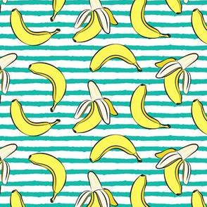 bananas on stripes (green)