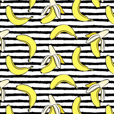 bananas on stripes (black) fabric by littlearrowdesign on Spoonflower - custom fabric