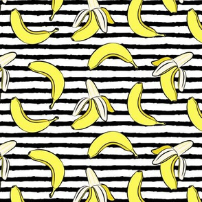 bananas on stripes (black)